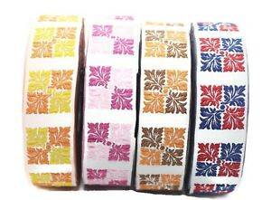 jacquard ribbons 25 mm Red /& Orange Square Ribbons 25705 0.98 inches vintage trim jacquard trims Geometric trim craft supplies