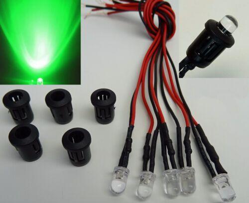 5 pezzi LED 5mm verde con plastica versione supporto 9-12v cablato
