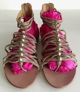 ASH-Women-Beige-Leather-Embossed-Gladiator-Style-Studded-Flat-Sandals-EUR-36-UK3