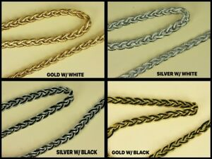 2-Yards-3-8-034-METALLIC-two-tone-BRAID-With-Fabric-TRIM-Crafting-amp-Sewing-projects
