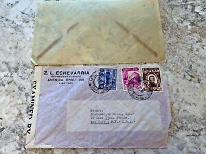 Vintage-Postage-Envelope-1942-Peru-to-New-York-City-Rare-Marks-Stamps