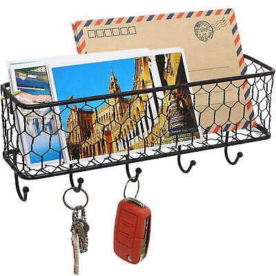 Wall Mount Letter Key Rack Holder Mail Organizer Entryway Hook Storage Decor