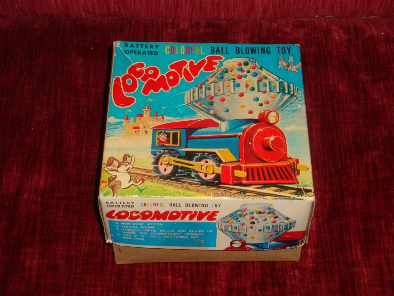 Vintage 1950s 60s Alimentado por Batería Juguete Colorido-Ball soplar Locomotora Tren