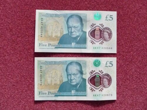 NEW FIVER 5 POUND NOTES PAIR JAMES BOND FAV NO .420 AK47 420544 & 420873