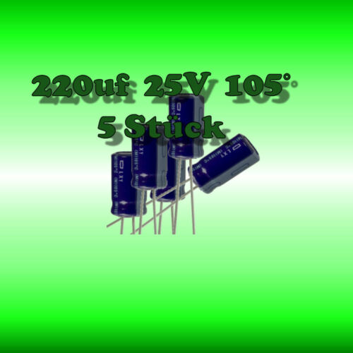 *** electrolíticos 220µf Elko 220uf 25v 105 ° *** 5 unid