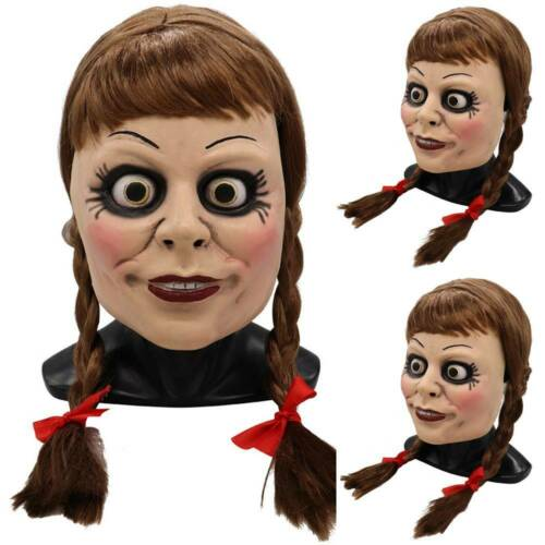 Unisex Annabel Mask Halloween Scary Face Masks Latex Cover Headgear Costume New