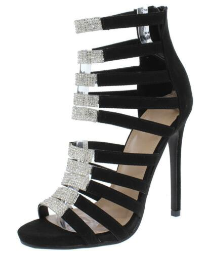 Black Open Toe Strappy Rhinestone Embellished Heel