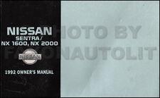 1992 Nissan Sentra and NX Owners Manual Original OEM Owner Guide Book 1600 2000