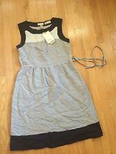 MALVIN HAMBURG-GERMANY women size S blue white striped LINEN dress