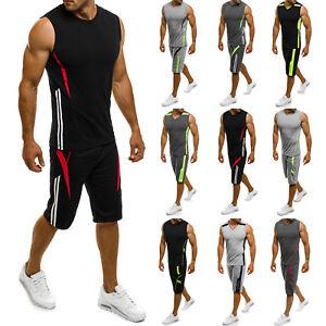 OZONEE-Herren-Sportanzug-Trainingsanzug-Shirt-Kurzhose-Fitness-7034-MIX