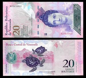 World-Paper-Money-Venezuela-20-Bolivares-2013-Series-X8-Crisp-UNC