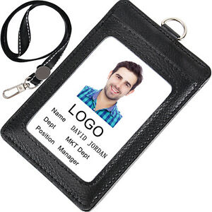 "Acctrend ID Card Badge Holder Real Leather Holder with Lanyard (2.8""L x 4.3""H)"