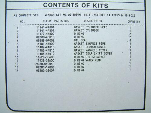 VESRAH COMPLETE Gasket set kit Suzuki DR800S DR800 DR BIG 1991-93 VG-3084M