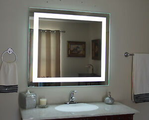 Front Lighted Led Bathroom Vanity Mirror 48 X 36 Rectangular
