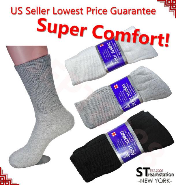 6pr Womens loose fit top Diabetic Crew Socks Black 9-11