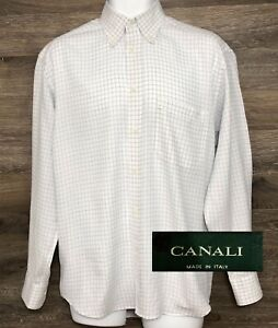 CANALI Men's White Blue Plaid Long Sleeve Button Down Dress Shirt Italy 39 15.5