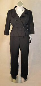 NEW-Signature-by-Larry-Levine-Black-Double-Breast-Pant-Suit-14W-14-16-1x-240