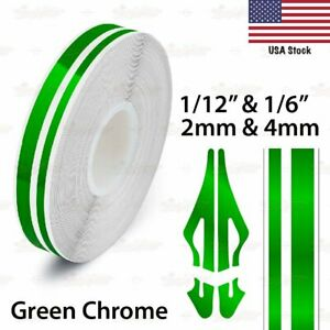 "1//2/"" Roll Vinyl Pinstriping Pin Stripe Line Tape Decal Sticker 12mm GREEN CHROME"