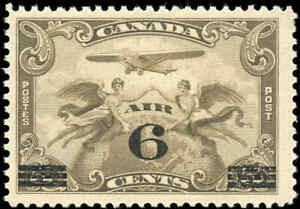 1932-Canada-Mint-NH-F-Scott-C3-6c-on-5c-Air-Mail-Issue-Stamp