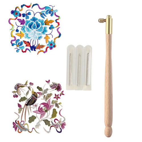 Tambour Hook with 3 Needles 70 90-100 Embroidery Beading Crochet Set Tool FG