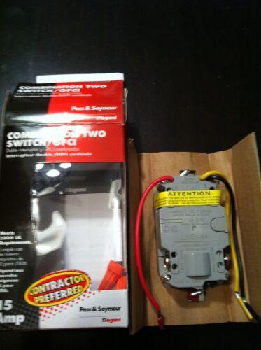 Pass /& Seymour GFCI 15 Amp 2 Switch Combo BLACK Single Pole 1595-2SWTBKCC4