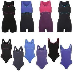 Slazenger-Badeanzug-Traeger-Damen-Schwimmanzug-m-Bein-Unifarben-S-M-L-XL-2XL-3XL