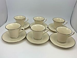 Lenox-Special-Pattern-Set-6-Footed-Cups-amp-Saucers-Ivory-Platinum-Trim-Made-USA