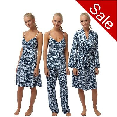 Ladies Pink Satin Chemise Nighty PJs Pyjamas Set Bathrobe Wrap sizes 8-32
