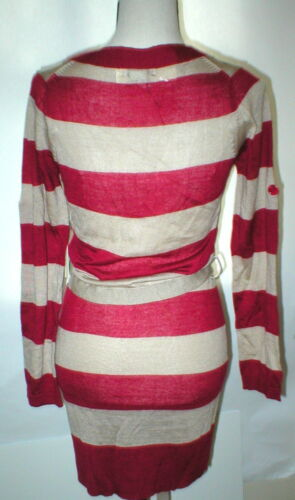 Button Tan Bælte Stripet Cardigan Sweater Red Vertigo Uld Paris Kvinders Nwt S Ny qwx1X4fv