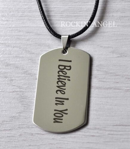 Stainless Steel Inspirational Dogtag Pendant Necklace I Believe in You Unisex