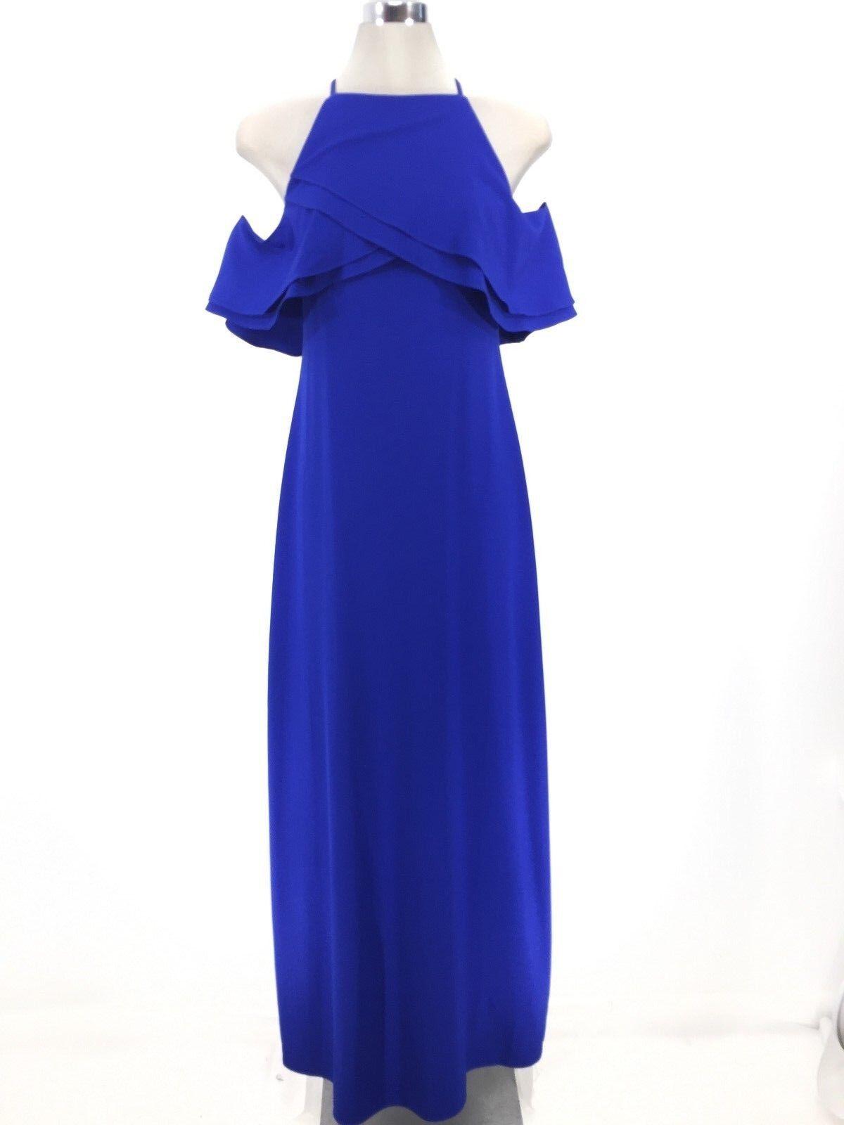 Marina NWT Stunning COBALT blueE Halter Cold shoulder Ruffle Maxi Dress