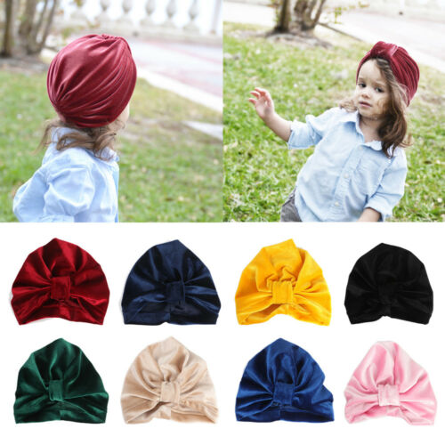 Fashion Winter Cap Head Wrap Elastic Knotted Velvet Baby Hat
