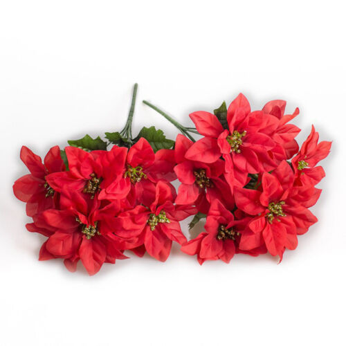Faux Poinsettia Bouquet Bunches Bush Christmas Floral Glittered Flower Hot G6S