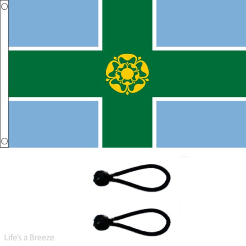 Comes With FREE BALL TIES Derbyshire Flag 5x3ft Flag Derby Flag