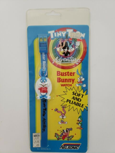 Tiny Toon Mini Clock ~ Buster Bunny Sealed 1990 Nelsonic Mini Clock with Stand