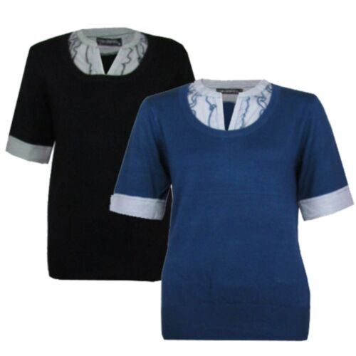 Donna Nero o Blu Smart Manica Corta Mock Shirt Maglione da Donna Top Taglie 8-20