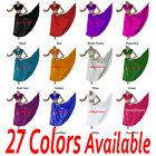 TMS Satin Skirt + Veil Set Belly Dance Costume Tribal Gypsy Club Dress |27 Color