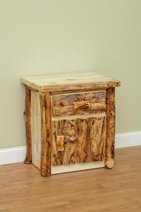 Details about LOG NIGHTSTAND, LOG FURNITURE, COLORADO ASPEN, BEDROOM  FURNITURE, RUSTIC
