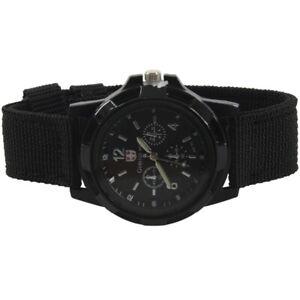Mode-Sport-Stil-Pilot-Stoff-Band-Mann-Armbanduhr-Uhr-schwarz-L1H5