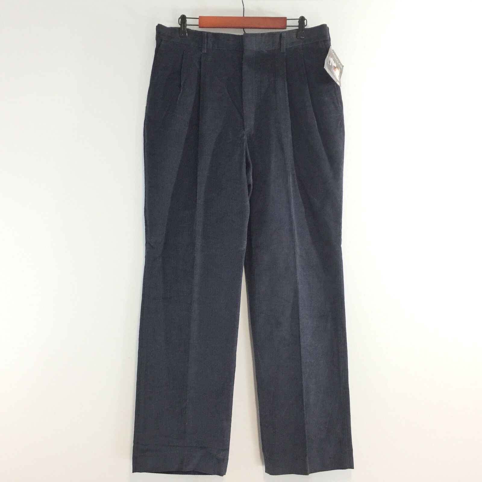 Vtg 90s NEW Haggar Mens W36xL32 bluee Easy Care Corduroy Pants USA Made NWT 36x32