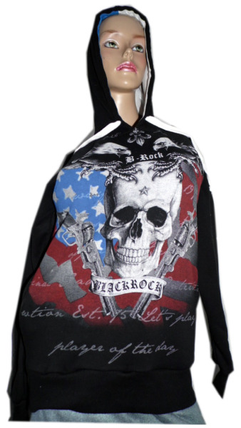 BLACKROCK Hoodie, Skull Totenkopf Kapuzenshirt, Kapuzenpullover, Sweatshirt