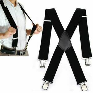 Men-039-s-Heavy-Duty-Suspenders-Adjustable-Clip-On-Work-Braces-Wide-Solid-Color-039-039
