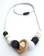 Silicone teething beads necklace sensory tool jewellery sennen Black&White UK