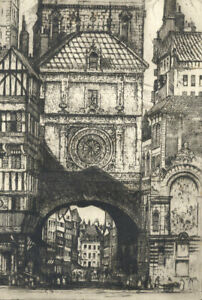 Edward-Sharland-1884-1967-Early-20th-Century-Etching-Gros-Horloge-Rouen
