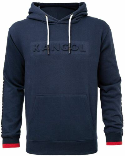6XL Kangol Troy Overhead Hoody With Embossed Logo in Navy in 2XL 3XL 4XL 5XL