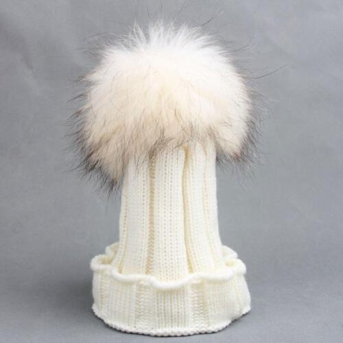 Warm Winter Kids baby Raccoon Fur Hats Knitted Wool Hemming Pom Ski Cap Bobble