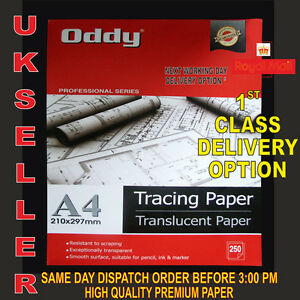 25 X A4 TRANSLUCENT TRACING PAPER 95gsm FOR ART,CRAFT,COPY<wbr/>ING OR CALLIGRAPHY ETC