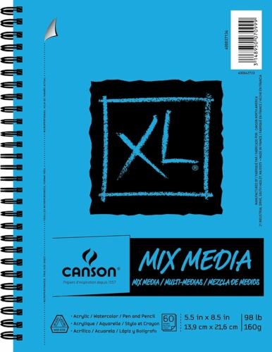 Various sizes and sheets 98 lb Canson XL Mixed Media Paper Pad
