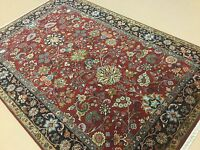 6'.2 X 9'.1 Red Navy Blue Sarouk Persian Oriental Area Rug Hand Knotted Wool