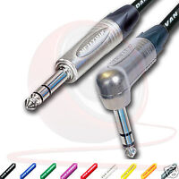 """¼"""" Jack to Jack Lead. Angled NEUTRIK 6.35mm, TRS, Stereo, Balanced Cable. 1m 20m"""